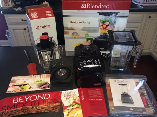 The boxes and contents of the Blendtec Designer Series and Twister Jar I received yesterday.