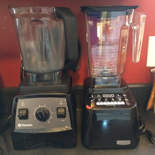My Vitamix 7500 and Blendtec Designer Series side-by-side on my kitchen counter.