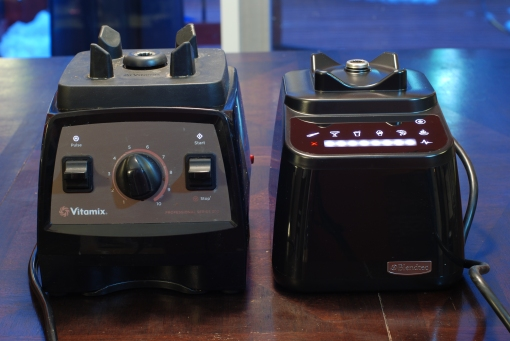 The front of the Vitamix Professional Series 300 and Blendtec Designer Series, both powered off.