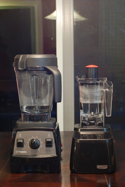 Vitamix Professional Series 300 and Blendtec Designer Series and Twister Jar with 12oz of water.