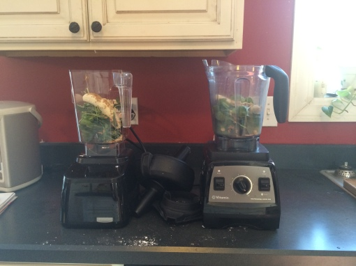 Getting ready to make Baby Kale, Peanut and Banana Green Smoothies in both blenders simultaneously