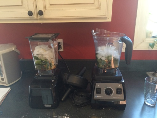 Adding ice to both blenders