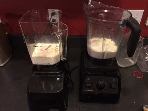 Preparing both blenders for Butternut Squash Soup