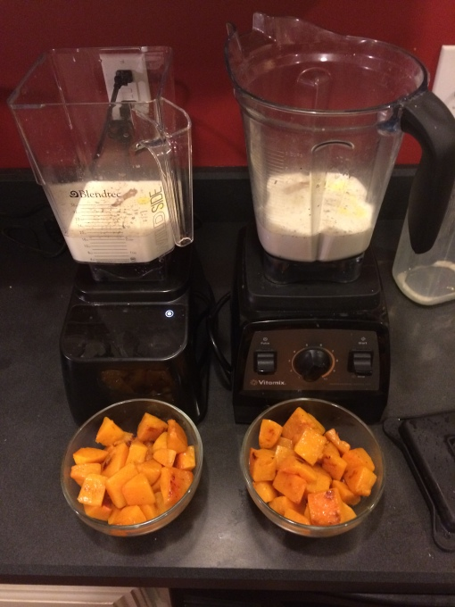 Adding equal amount of squash to both mixes