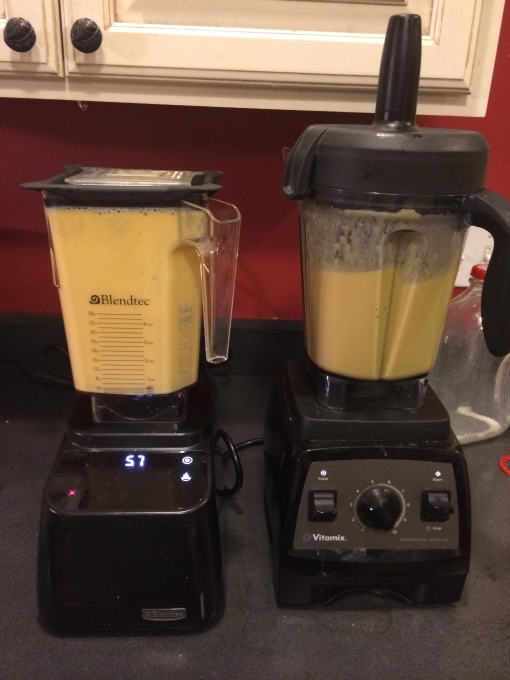 Blending the soup in both the Blendtec Design Series (left) and Vitamix (right)
