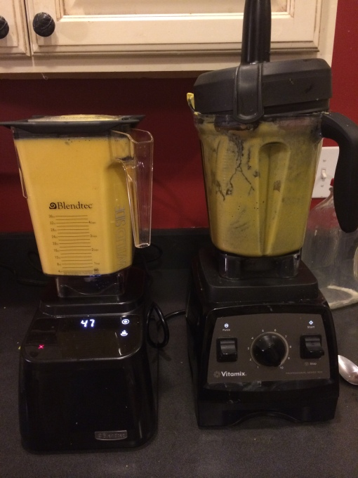 Running both batches of soup through a second soup cycle in the Blendtec Designer Series