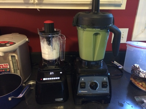 Making Matcha Cream Frappachino in my Vitamix 7500 at the same time as making whipped cream in my Blendtec Designer Series.